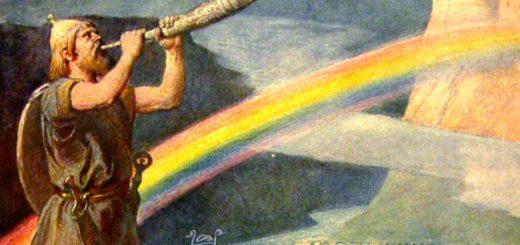 Gemälde Heimdall mit Horn Regenbogen