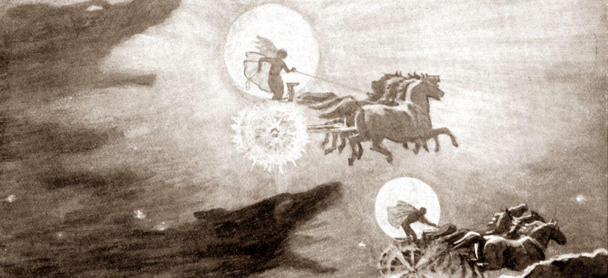 Mond und Sonne als germanische Götter