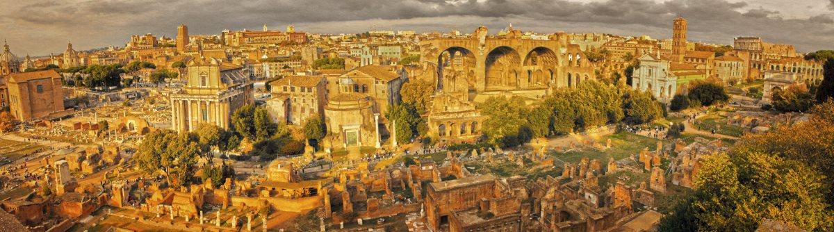 Panoramablick auf römische Ruinen