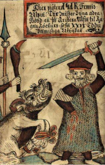 Zeichnung Kriegergott mit Schwert